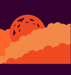 halloween orange moon in the clouds of the bat vector image