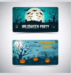 halloween party horizontal banners vector image