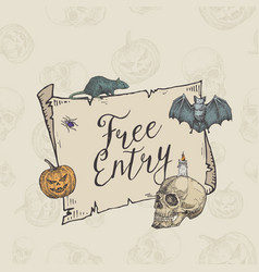 happy halloween free entry banner template vector image