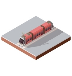 Isometric light train on the rails vector image