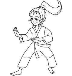 Karate stance girl line art vector