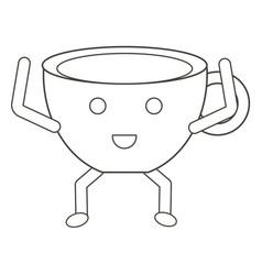 kawaii coffee mug icon vector image