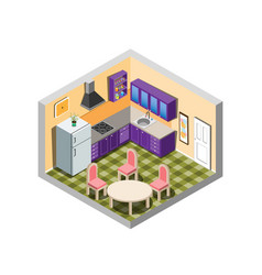 Kitchen isometric with furniture vector