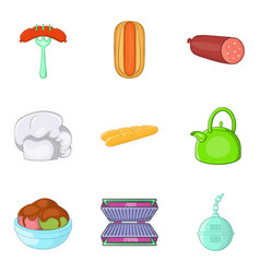 Luncheon icons set cartoon style vector