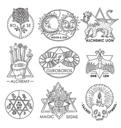 magic emblems hand drawn set vector image
