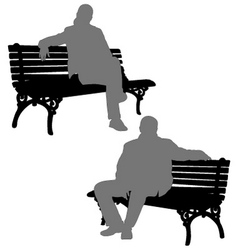 man and woman sitting on park bench vector image