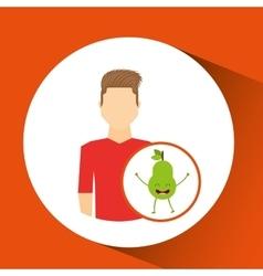 Man with cartoon fruit pear vector
