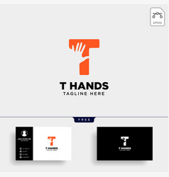 Minimal t letter initial hand logo template icon vector