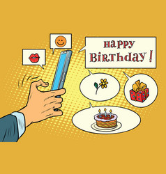 Mobile app greetings happy birthday vector