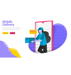 mobile delivery women who deliver goods courier vector image