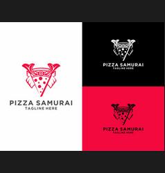 Modern pizza samurai logo vector