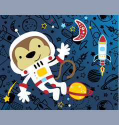 Monkey cartoon funny astronaut with rocket vector