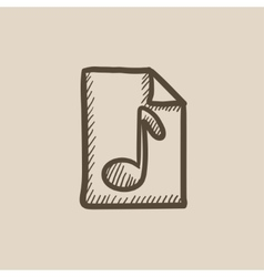 Musical note drawn on sheet sketch icon vector image