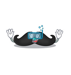 Mustache mascot isolated with diving cartoon vector