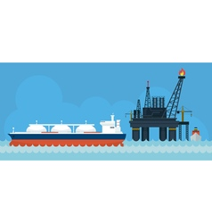 Oil Rig and Tanker Ship Side View vector