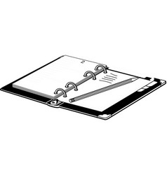 open notebook with pencil vector image