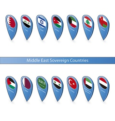 Pin flags of the Middle East Sovereign Countries vector