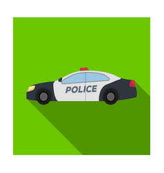 police car icon in flat style isolated on white vector image