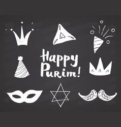 Purim hand drawn icons set traditional jewish vector