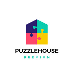 Puzzle house logo icon vector