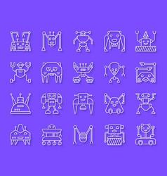 robot simple paper cut icons set vector image