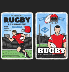 rugby tournament american football retro posters vector image