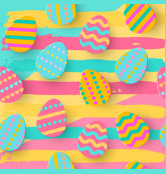 Seamless pattern of easter egg paper cut style vector