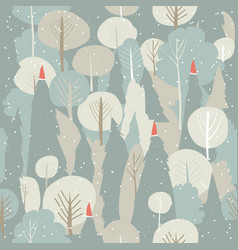 seamless winter forest pattern christmas vector image