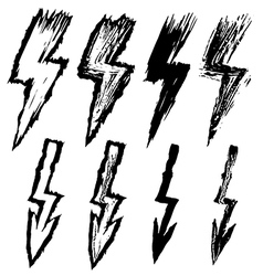 Set of black sketchy lightning vector