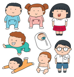 set of children vector image