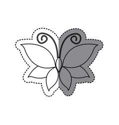 sticker shading sketch butterfly insect icon vector image