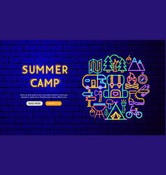 summer camp neon banner design vector image