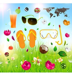 Summer essentials icon set vector