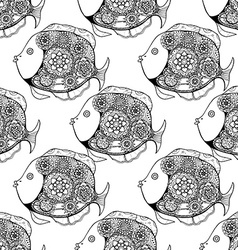 Tangle Patterns fish background vector image