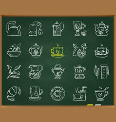 tea chalk draw line icons set vector image
