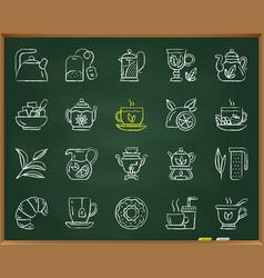 Tea chalk draw line icons set vector