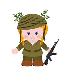 The girl soldier vector