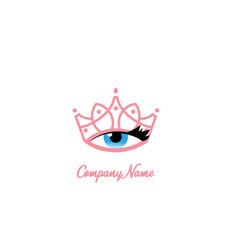 Tiara eye makeup logo design vector