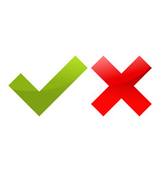 tick and cross icons - approved and decline vector image