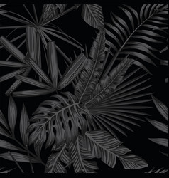 Tropical seamless pattern in black and white style vector