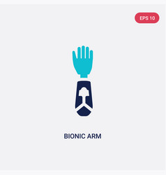Two color bionic arm icon from artificial vector