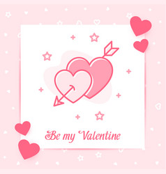 two hearts arrow valentine card love day text icon vector image