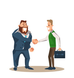 Two smiling business man character shake hand vector
