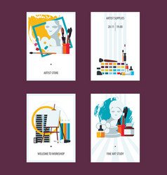 Vertical set with fine art cards templates flat vector