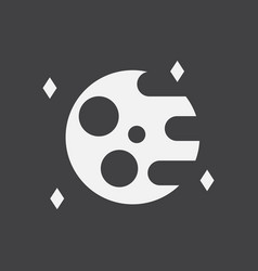 White icon on black background planet and elements vector