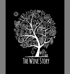 Winery concept art tree for your design vector