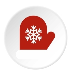 Winter mitten icon flat style vector image