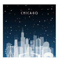 Winter night in chicago night city in flat style vector