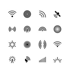 Wireless wifi and radio signals icons antenna vector