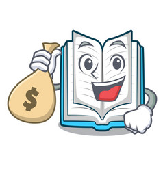 with money bag opened book on the cartoon table vector image